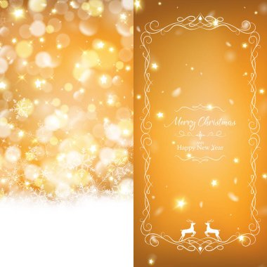 warm christmas brochure template decorated with rich gold bokeh and glowing stars on the right side part included white ornament border and snow is falling on the ground