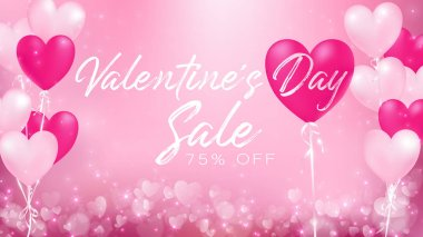 valentine's day sale banner represent as celebration of a love's day with pastel colors