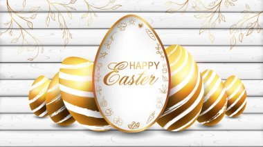 Golden Easter eggs on the white plank background and die cut of egg shape in the middle bounding by doodles of Easter character.
