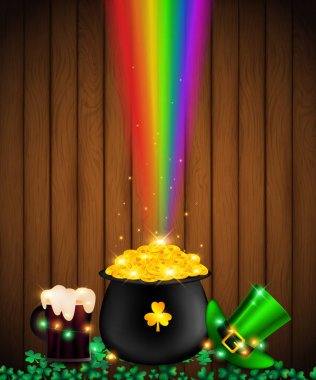 st. Patrick's Day on wood plank contains  fairy lights tie up around a pot of gold coin, beer and green top hat be side a black pot over shamrock