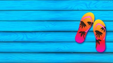 Blue sky plank board represent at summer season decorated by slippers over the board on the right hand side, slippers color tone is sunset gradient and silhouette of coconut trees