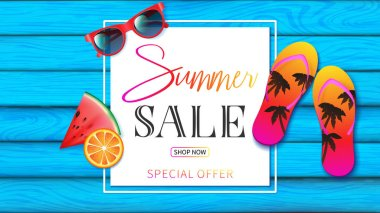 summer banner with light blue planks wood decorated by summer elements such as red sunglasses, colorful of slippers ,fruit and summer typography in special offer season