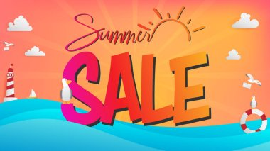 Summer sale season banner included paper craft elements are clouds, lighthouse, seagulls, and wave of sea. Artwork represented in retail advertising the word emphasized that the text had a large scale