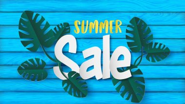 Summer banner in the paper craft style come with monstera leaves or swiss cheese plant and summer sale text put over the light blue plank of wood