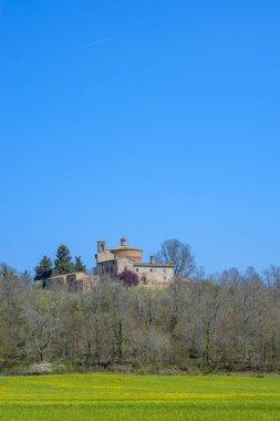 Church and Chapel of Montesiepi, Tuscany, Italy stock vector