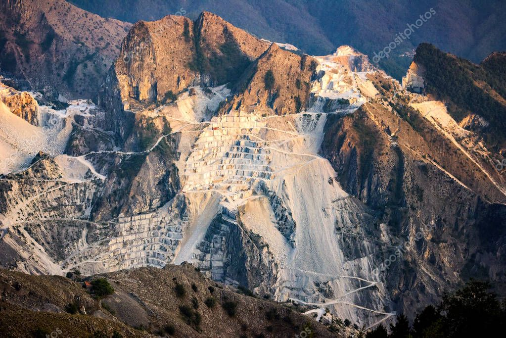 Marble quarry at sunset in Carrara, Tuscany, Italy