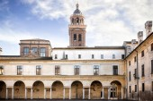 Fotografie MANTUA: Ducal Palace interior Castello square. Detail of the historical city building. Italy