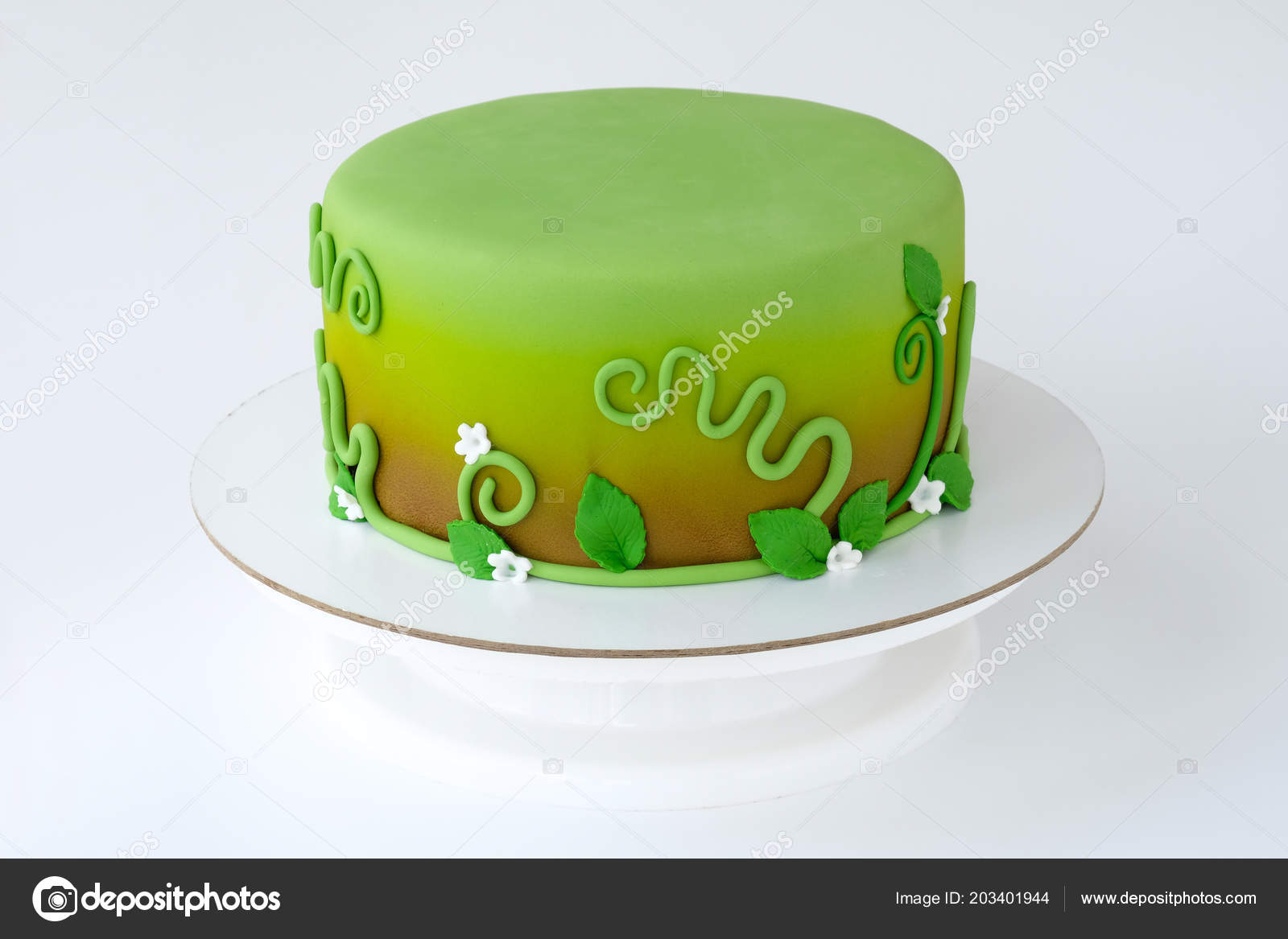 Cake Children Birthday Made Green Mastic Decorated Flowers Leaves Pattern Stock Photo