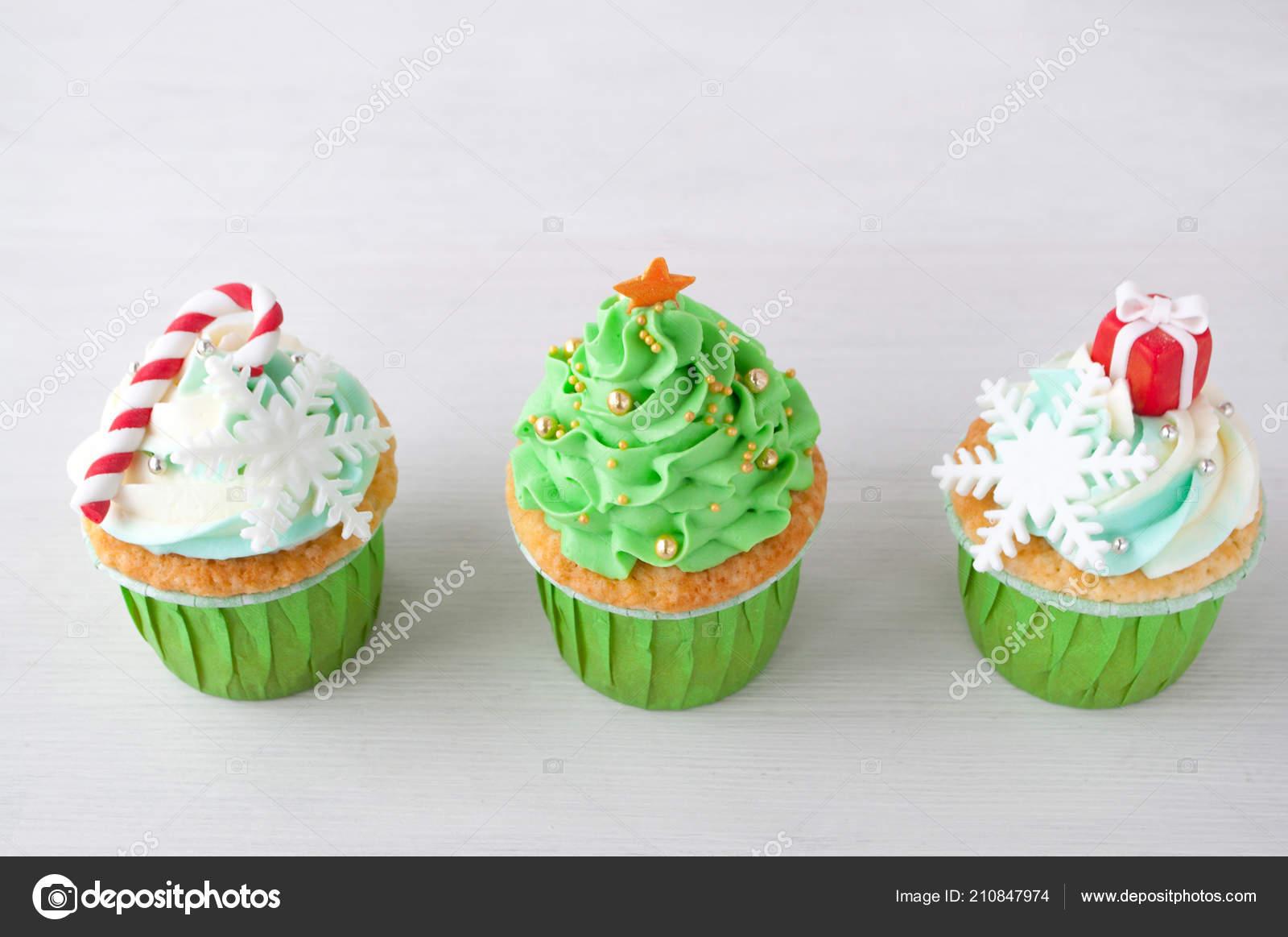 Ano Nuevo Cupcakes Navidad Verde Con Crema Batida Decorado Con