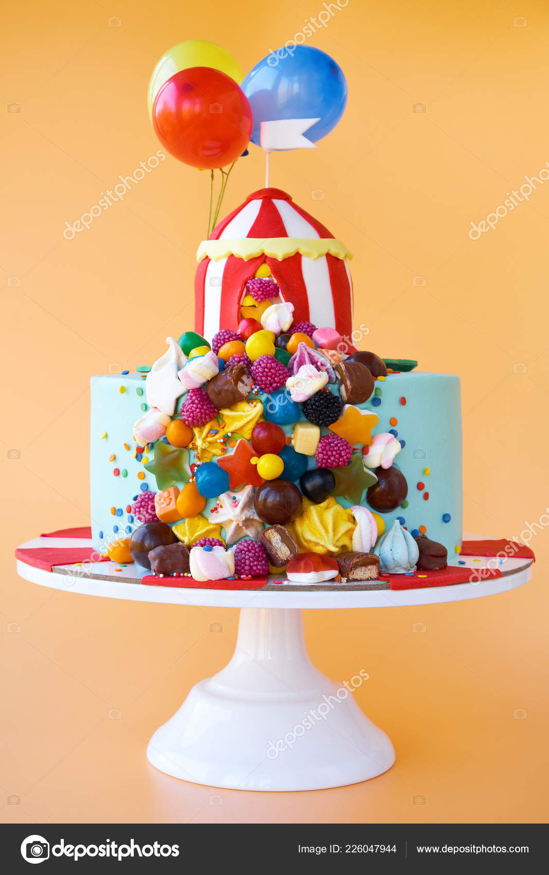 Birthday Cake Decorated Circus Tent Colorful Sweets Balloons Orange Background Stock Photo