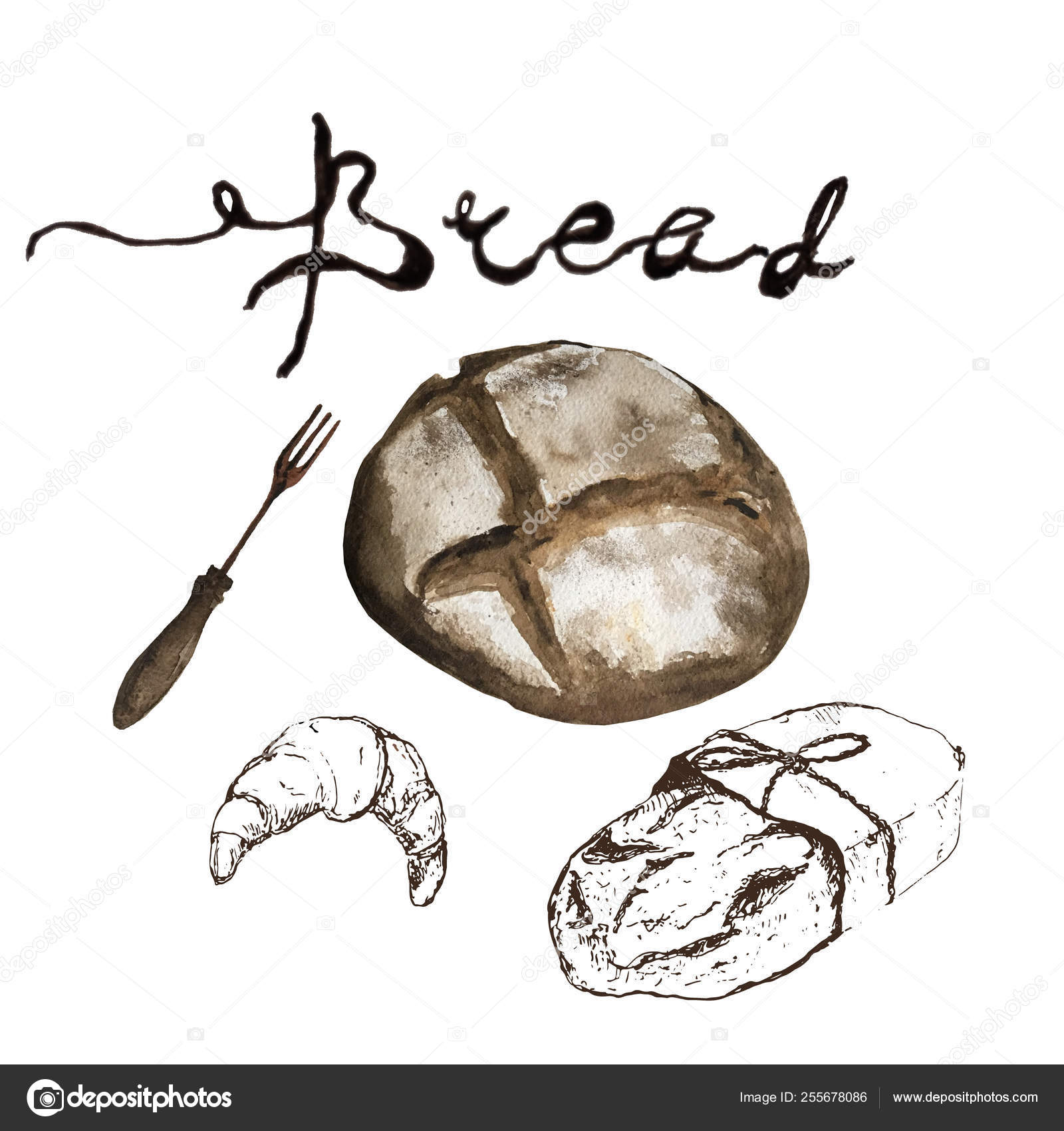Bread Bakery Product Watercolor And Pen Sketch Drawing With Lettering Fresh Loaf Of Bread Baguette Croissant And Sweet Bun Pretzel Natural Organic Bread Bakery Shop Design Stock Photo C Bychovsky Gmail Com 255678086