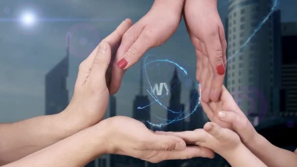 Mens, womens and childrens hands show a hologram Lawyer