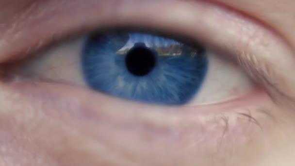 Close up macro image of human eye with blue iris