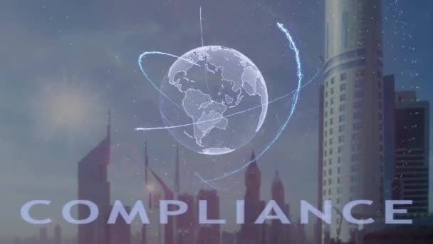 Compliance text with 3d hologram of the planet Earth against the backdrop of the modern metropolis