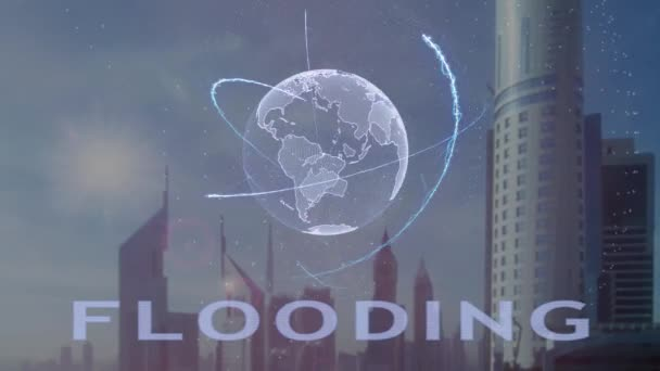 Flooding text with 3d hologram of the planet Earth against the backdrop of the modern metropolis