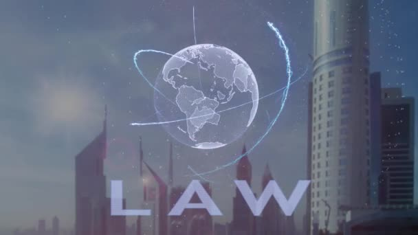 Law text with 3d hologram of the planet Earth against the backdrop of the modern metropolis