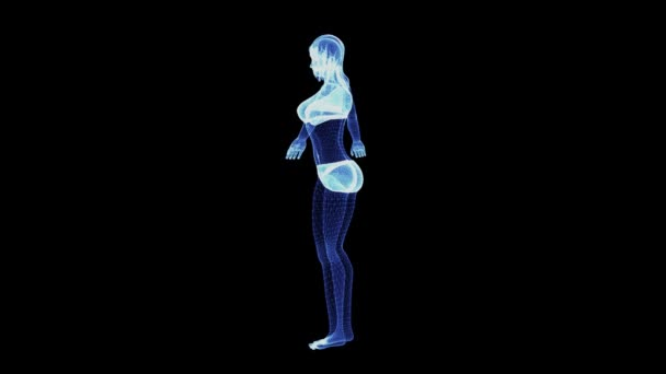 The hologram of a rotating female body in lingerie