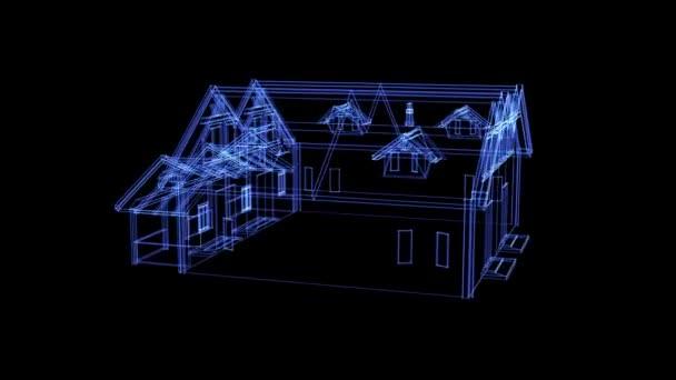 Hologram egy forgó két családi ház