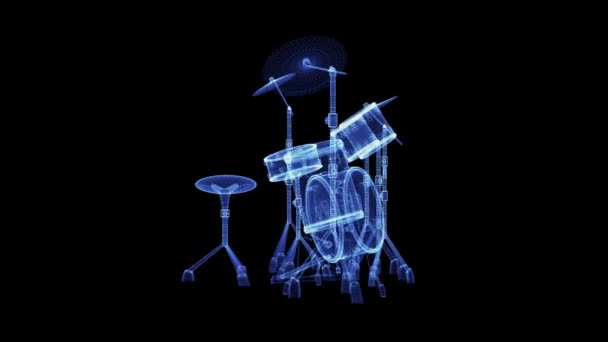 The hologram of a drum set