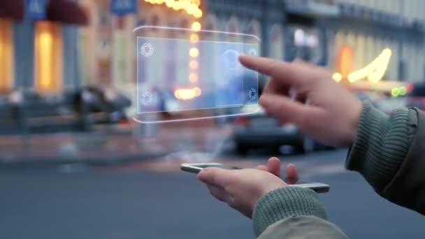 Weibliche Hände interagieren Hud-Hologramm mit Text Fintech