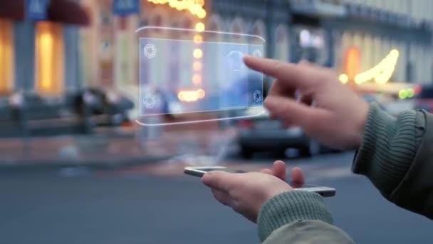 Weibliche Hände interagieren Hud Hologramm Zeit für Veränderung