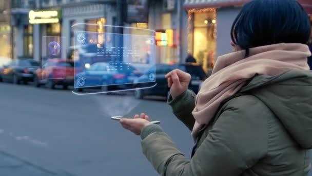 Woman interacts HUD hologram Digital city
