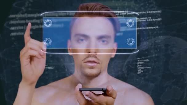 Guy spolupracuje s hologramem připojení