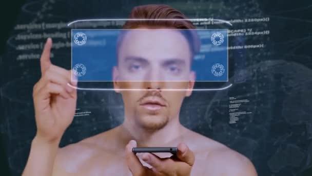 Kerl interagiert hud Hologramm Beratung