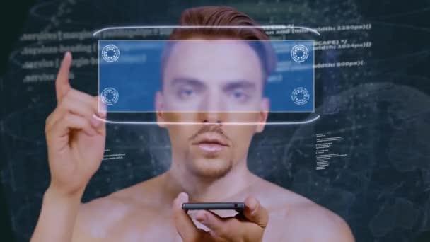 Guy interacts HUD hologram VAT