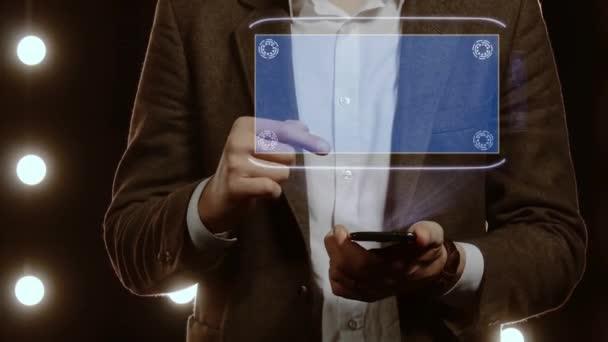Podnikatel zobrazuje hologram s textem kontaktujte nás