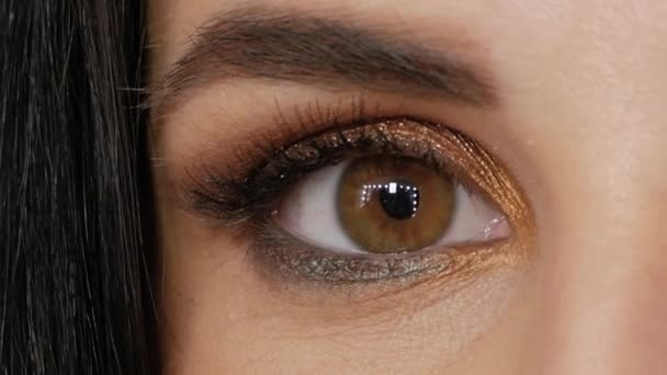 Closeup macro human eye woman blinking slow motion close up brown hazel