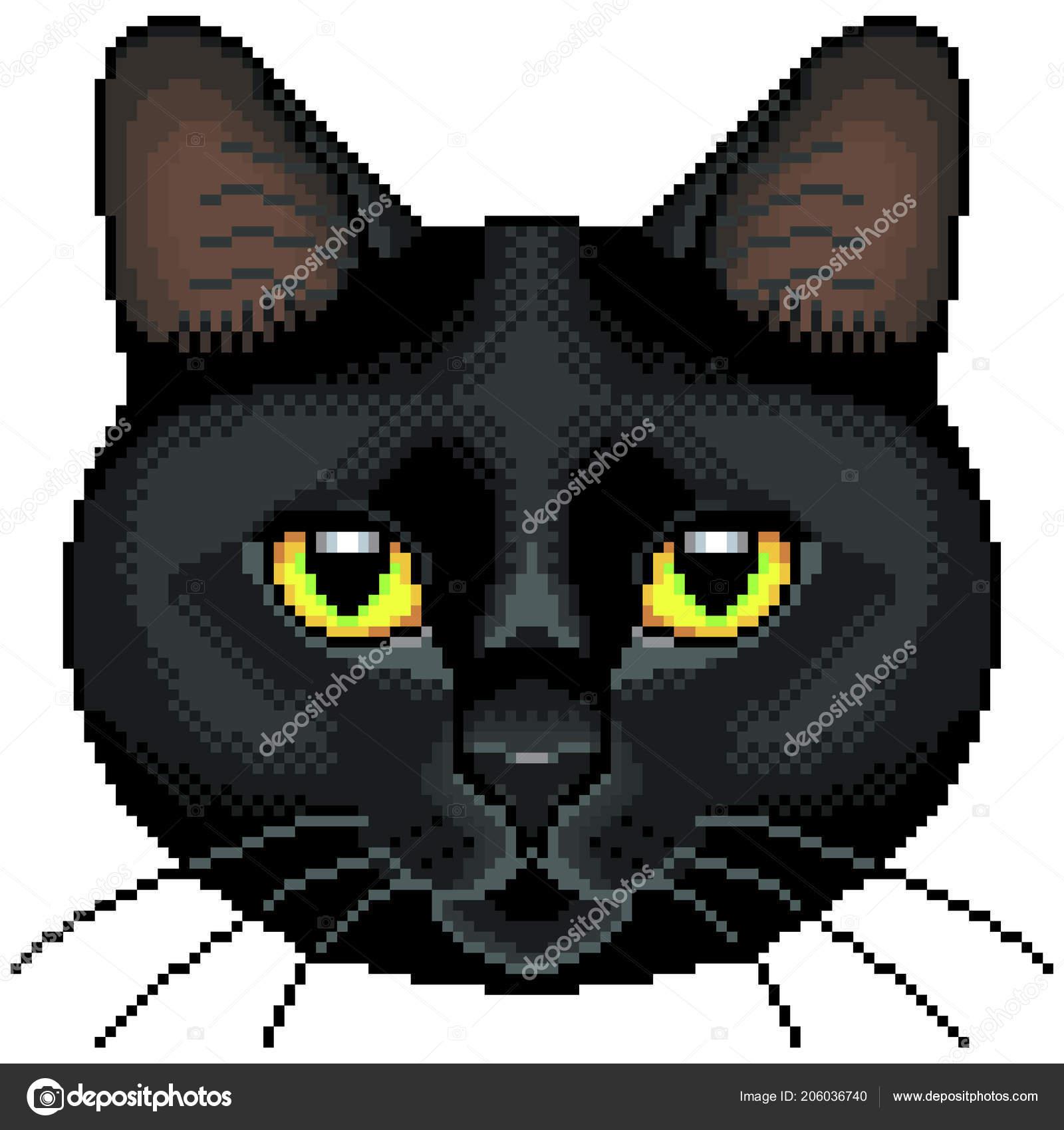 Vector Isolé Détaillée Pixel Chat Noir Visage Image
