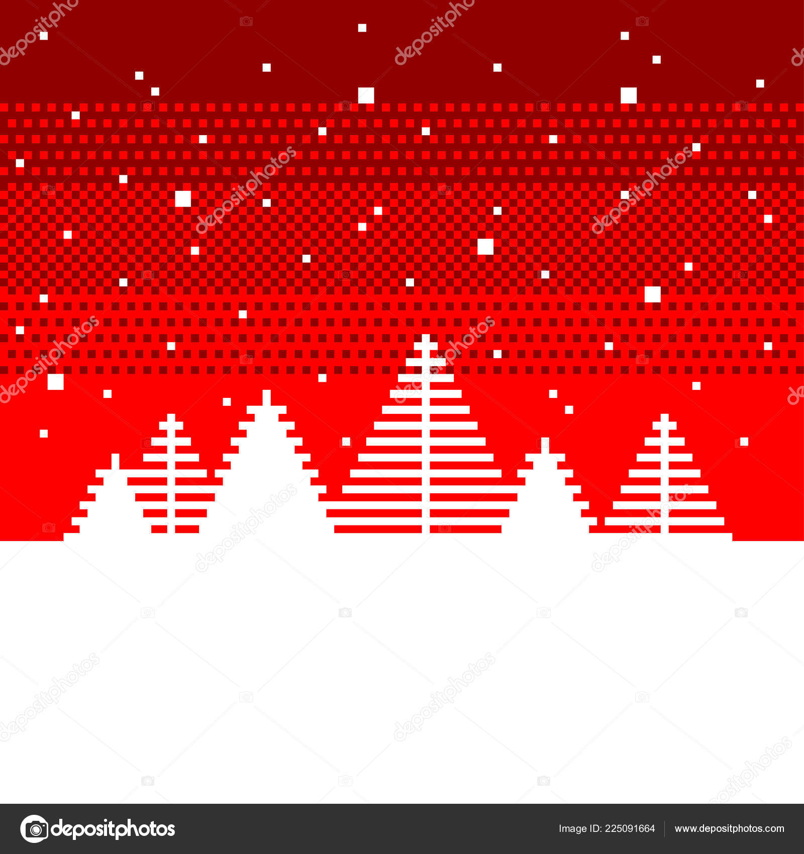 Pixel Art Sapins Arbres Noël Concept Détaillé Vector
