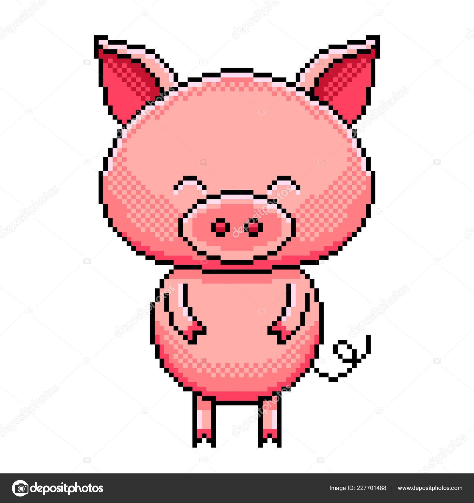 Pixel Art Mignon Porc Détaillé Illustration Isolé Vecteur