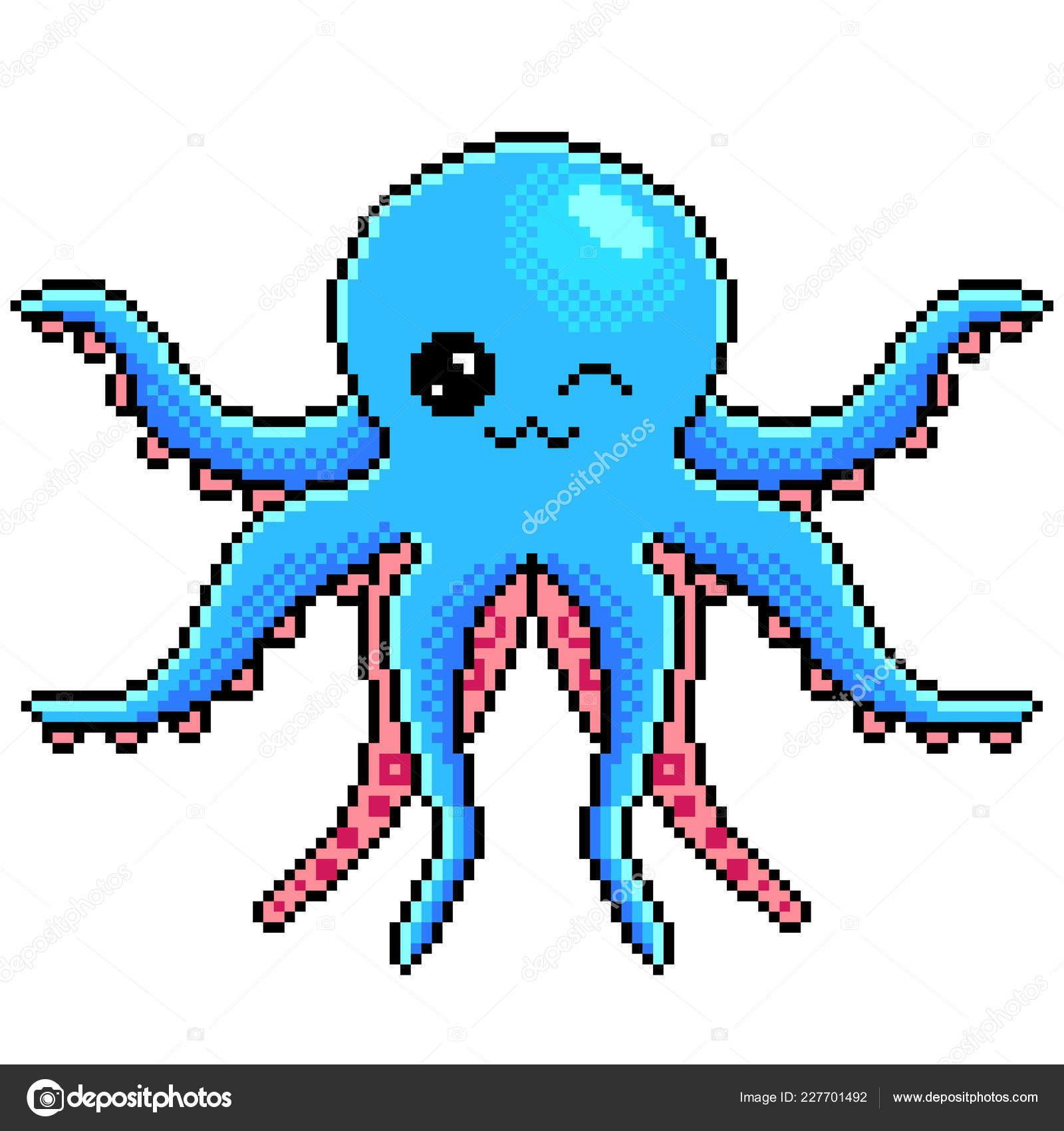 Pixel Art Poulpe Mignon Détaillé Illustration Isolé Vecteur
