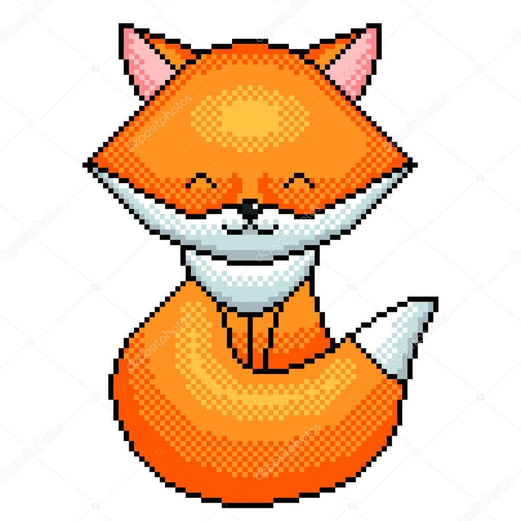 Pixel Art Renard Mignon Détaillé Illustration Isolé Vecteur