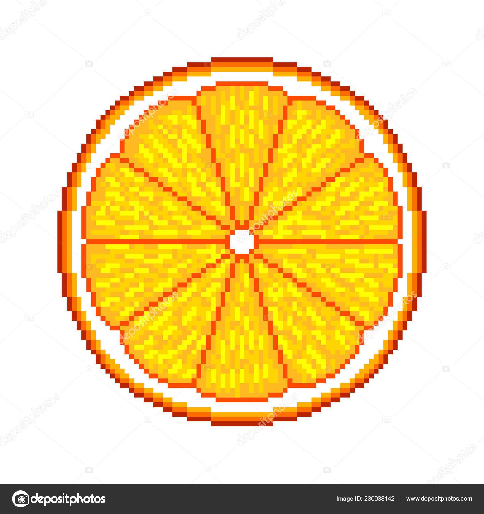 Pixel Art Orange Fruit Detailed Illustration Isolated Vector