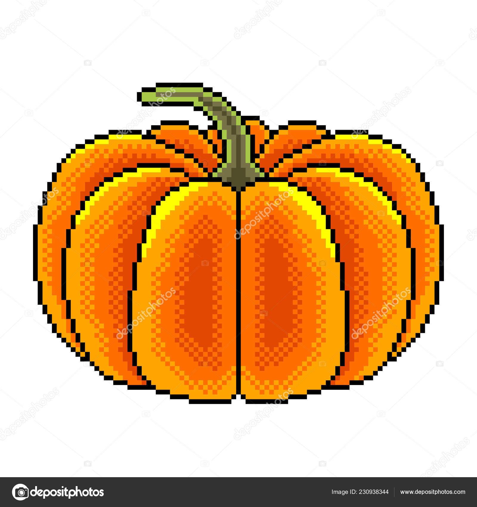 Pixel Art Grosse Citrouille Détaillée Illustration Isolé