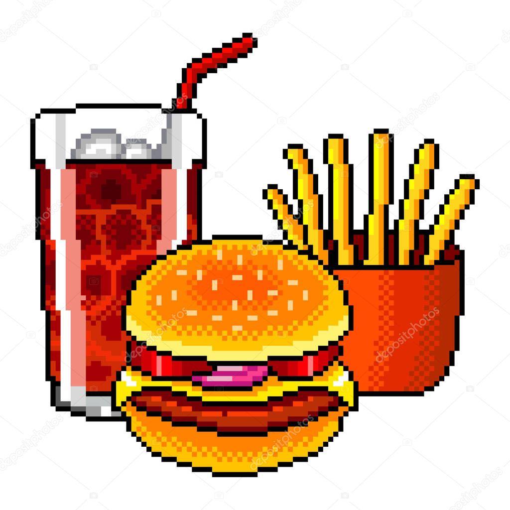 Pixel Art Fast Food Cola Burger Frites Français Illustration