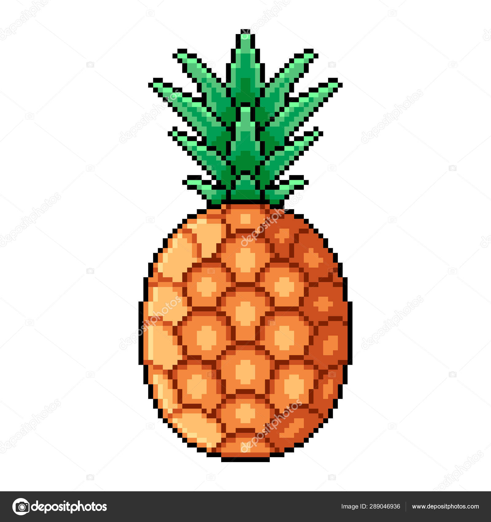 Pixel Whole Pineapple Detailed Illustration Isolated Vector