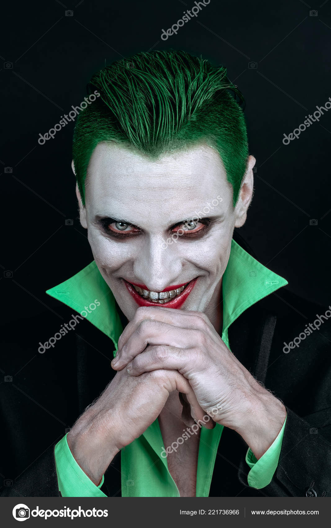 Portrait Of A Joker Makeup For Halloween Crazy Image Of A