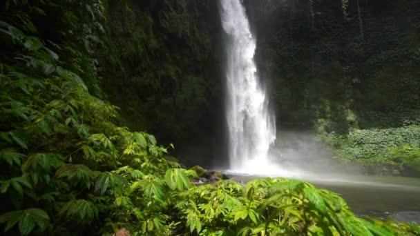 Úžasný vodopád Nungnung, Bali. Zpomalené video. Proudící kamera s popředím tropických rostlin. Cestování příroda krásy koncept