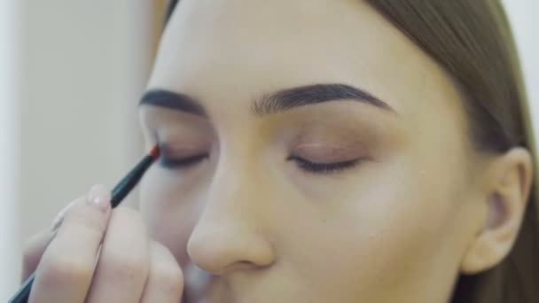 Eye makeup woman applying eyeshadow powder. Beautiful woman face. Perfect makeup. Beauty fashion. Eyelashes. Cosmetic Eyeshadow. close up. Slow motion