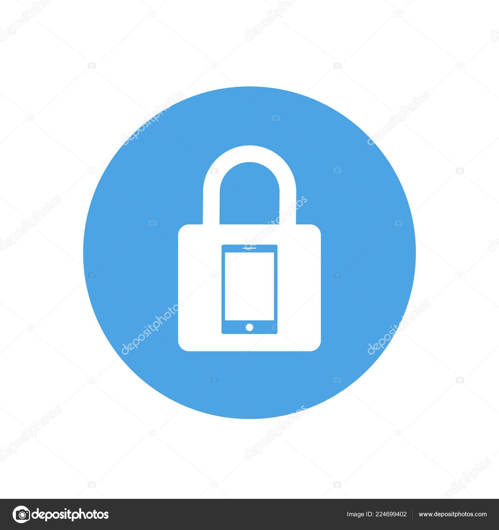 Vettore Sfondi Azzurro Per Cellulare Icona Di Blocco Segno Di