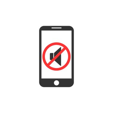 Silent mode of smartphone. Vibration.Soundless mode. Speaker icon. Vector illustration