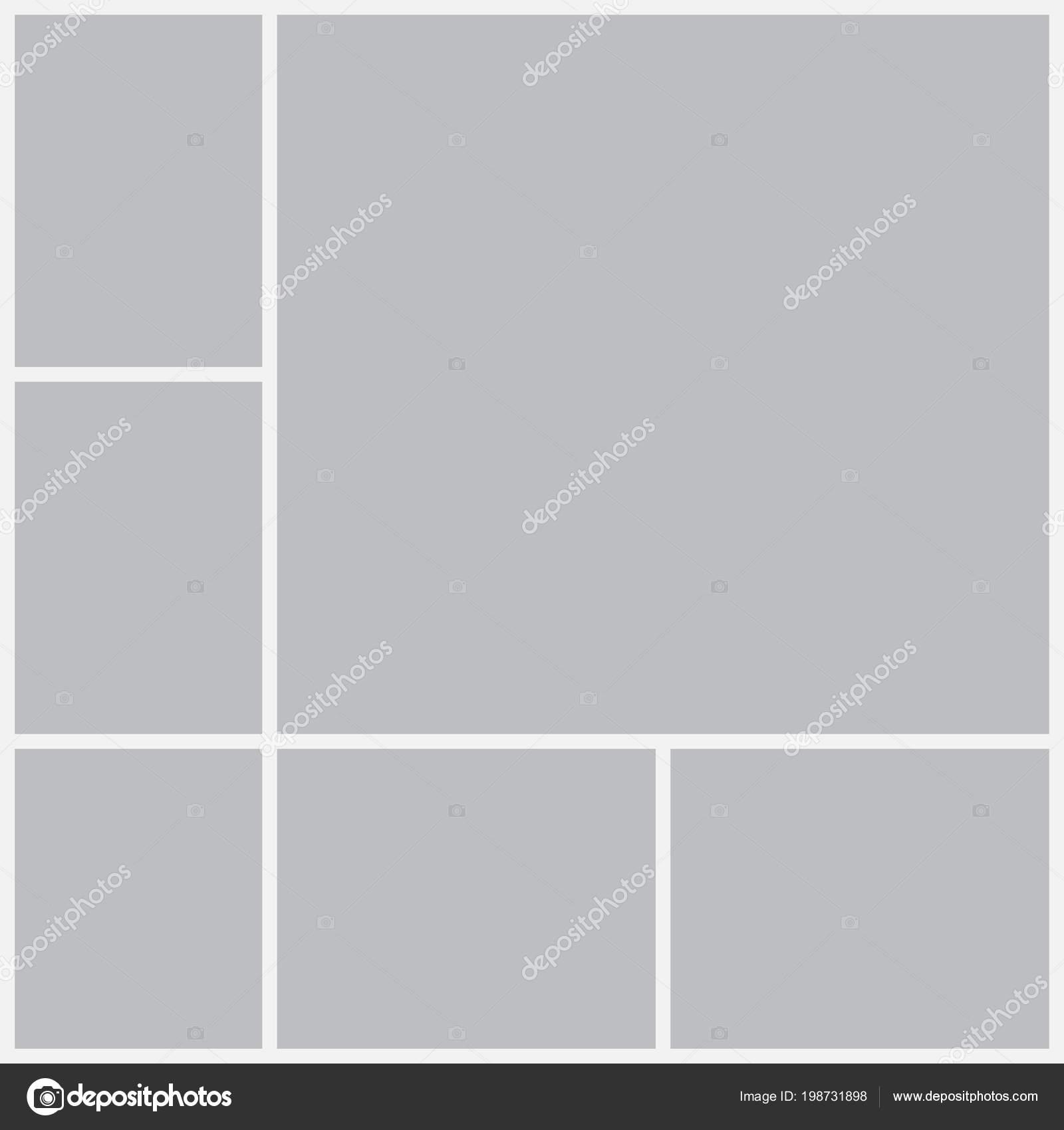 Vorlagen collage Rahmen für Fotos oder Illustrationen — Stockvektor ...