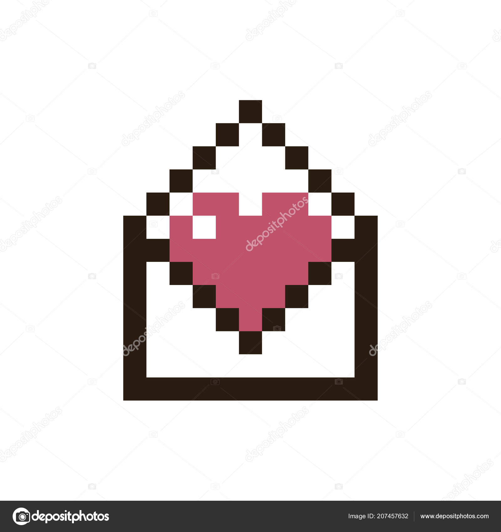 Pixel Envelope Vector Pixel Heart In An Envelope Stock