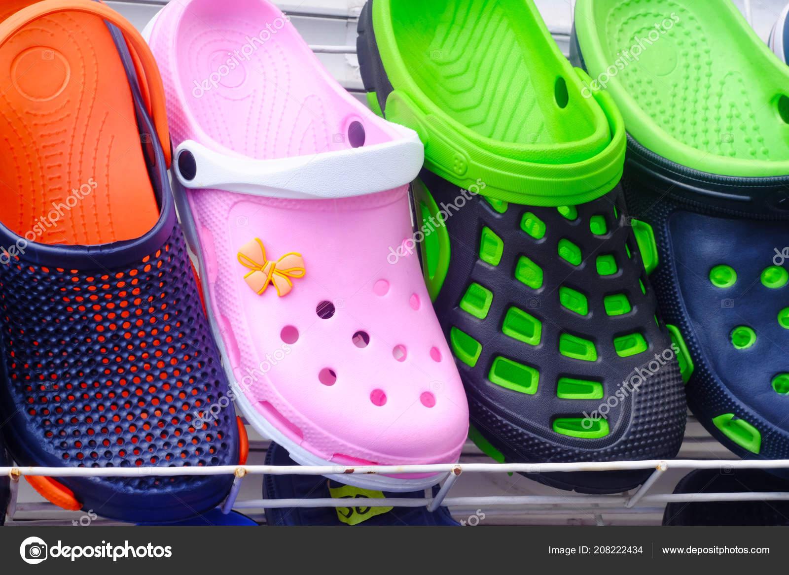Multi Colored Rubber Slippers Showcase
