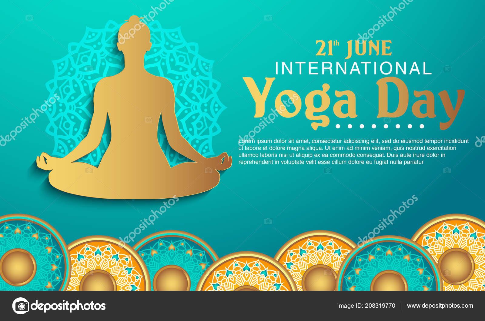 International Yoga Day Vector Illustration Banner Brochure Poster Design June Stock Vector C Temynovian 208319770