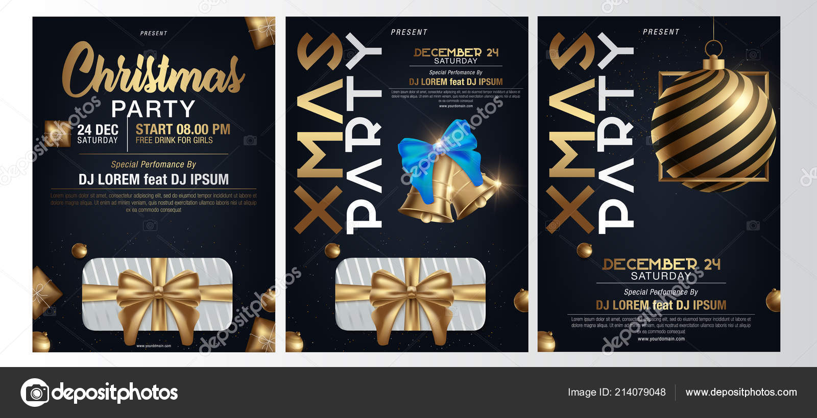 Merry Christmas Party Glass Ball Gift Box Flyer Brochure